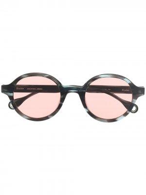 Солнцезащитные очки в круглой оправе Etudes. Цвет: зеленый