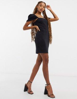 Puff sleeve mini dress in black-Черный Miss Selfridge