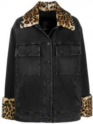 Джинсовая куртка с леопардовым принтом Pinko. Цвет: черный