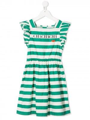 Платье в полоску с оборками на рукавах Bobo Choses. Цвет: зеленый
