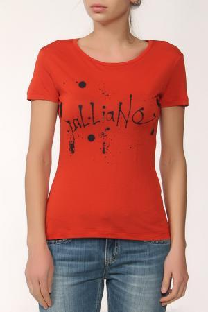 Майка с надписью Galliano. Цвет: оранжевый
