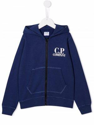 Logo print zip-up hoodie C.P. Company Kids. Цвет: синий