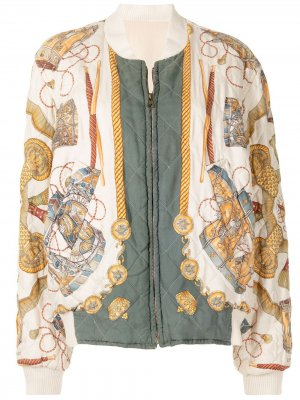 Двусторонний бомбер pre-owned с абстрактным принтом Hermès. Цвет: разноцветный
