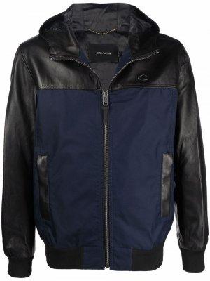 Куртка в стиле колор-блок на молнии Coach. Цвет: черный