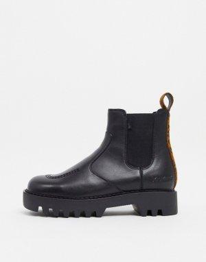 Черные ботинки челси на массивной подошве с леопардовой вставкой пятке Kizzie-Черный цвет Kickers