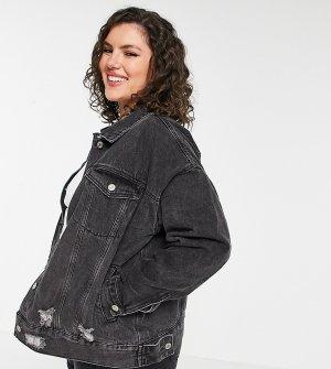 Черная джинсовая oversized-куртка с рваной отделкой -Черный цвет Missguided Plus