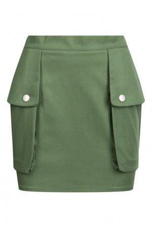 Мини-юбка с большими накладными карманами GCDS. Цвет: зеленый