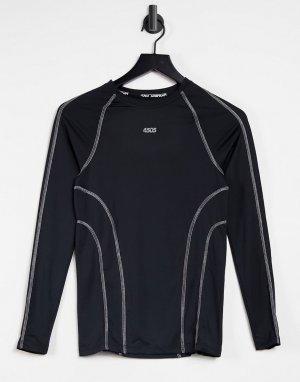 Облегающий спортивный лонгслив со светоотражающими швами -Черный цвет ASOS 4505