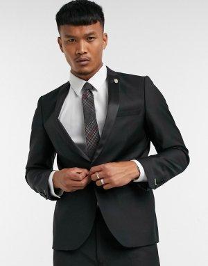 Черный пиджак-смокинг с атласными лацканами наклонной формы -Черный цвет Twisted Tailor