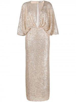 Вечернее платье с пайетками Elisabetta Franchi. Цвет: золотистый