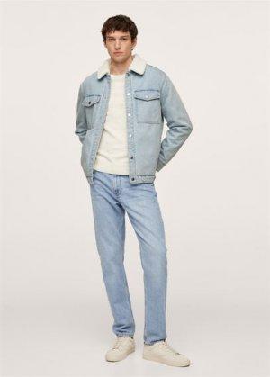 Джинсовая куртка с искусственной овчиной - Waspy-i Mango. Цвет: светло-синий