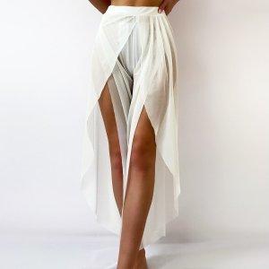 Прозрачные сетчатые пляжные брюки SHEIN. Цвет: белый