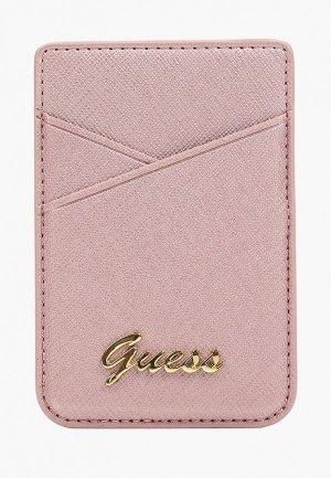 Визитница Guess Магн. бумажник Wallet Cardslot Magsafe Saffiano Script logo Pink. Цвет: розовый