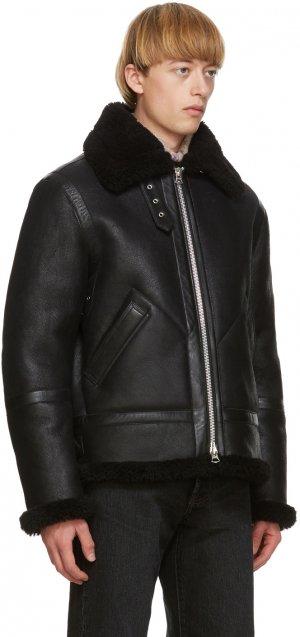 Black Shearling Aviator Jacket Acne Studios. Цвет: black