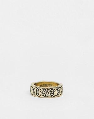 Золотистое кольцо с гравировкой в виде глаза -Золотистый Classics 77