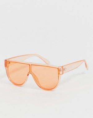 Солнцезащитные очки‑авиаторы в золотистой оправе AJ Morgan. Цвет: розовый