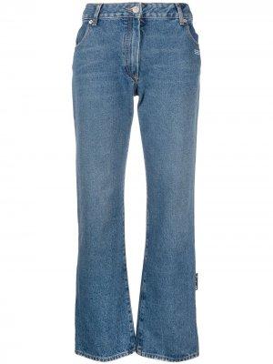 Укороченные джинсы с логотипом Off-White. Цвет: синий