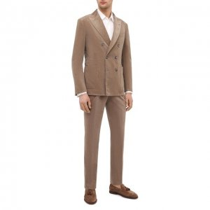 Хлопковый костюм Brunello Cucinelli. Цвет: бежевый