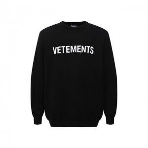 Шерстяной свитер VETEMENTS. Цвет: чёрный