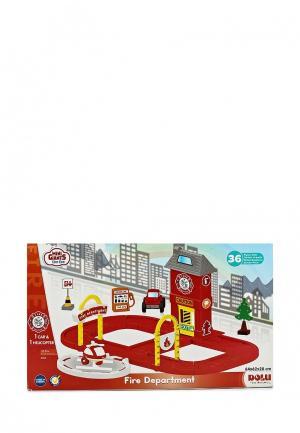 Набор игровой Dolu Пожарная станция с круговой дорогой. Цвет: разноцветный