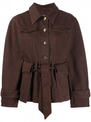 Джинсовая куртка с поясом Nanushka. Цвет: коричневый