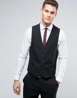 Черный узкий жилет New Look. Цвет: черный