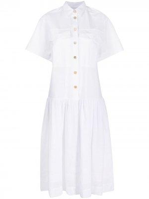 Платье-рубашка с короткими рукавами Erika Cavallini. Цвет: белый