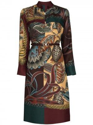 Платье-рубашка длины миди с принтом Salvatore Ferragamo. Цвет: красный