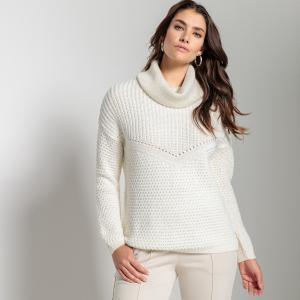 Пуловер с отворачивающимся воротником из плотного трикотажа ANNE WEYBURN. Цвет: экрю