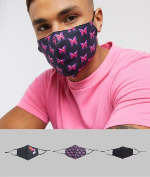 3 маски для лица с регулируемыми ремешками и бабочками -Черный ASOS DESIGN