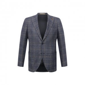 Пиджак из шерсти и льна Sartoria Latorre. Цвет: синий