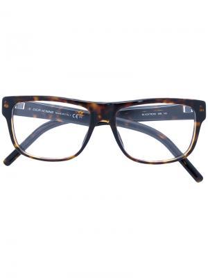 Очки с квадратной оправой Dior Eyewear. Цвет: коричневый