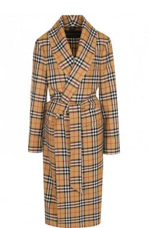 Шерстяное пальто в клетку с поясом Burberry
