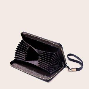 Мужской длинный кошелек с текстовым тиснением SHEIN. Цвет: чёрный