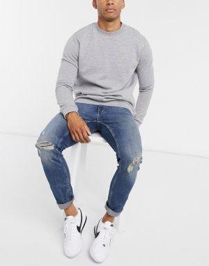 Рваные джинсы из органического хлопка -Синий Burton Menswear
