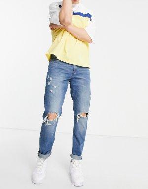 Синие джинсы слим с рваной отделкой -Голубой ASOS DESIGN