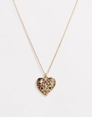 Золотистое ожерелье с подвеской-сердцем -Золотой Accessorize