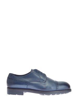 Ботинки-дерби с мехом и брогированным узором MORESCHI. Цвет: синий