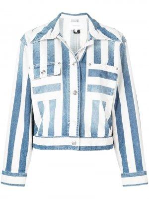Полосатая джинсовая куртка Current/Elliott. Цвет: синий