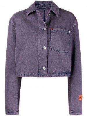 Укороченная джинсовая куртка с логотипом Heron Preston. Цвет: фиолетовый