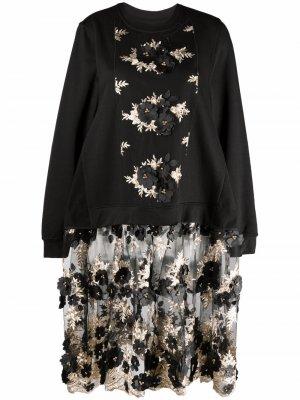 Кружевное платье со вставкой Antonio Marras. Цвет: черный