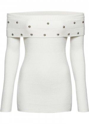 Пуловер с открытыми плечами bonprix. Цвет: белый