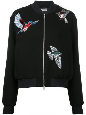 Куртка-бомбер с вышитыми птицами Markus Lupfer. Цвет: чёрный