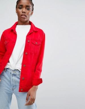 Длинная цветная джинсовая куртка New Look. Цвет: красный
