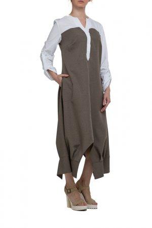 Платье Adzhedo. Цвет: темно-бежевый, белый