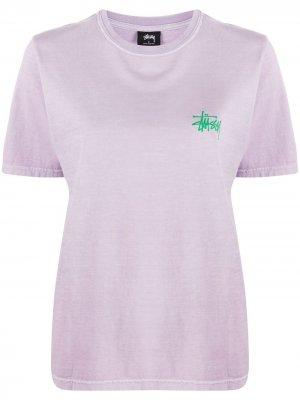 Logo-print crew neck T-Shirt Stussy. Цвет: фиолетовый