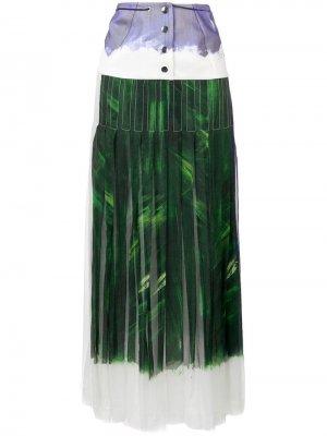 Плиссированная юбка макси со вставкой Victoria Beckham