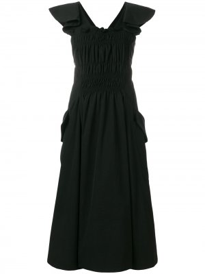 Расклешенное присборенное платье Carven. Цвет: черный