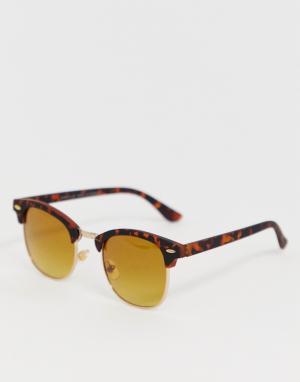 Квадратные солнцезащитные очки в черепаховой оправе -Коричневый River Island