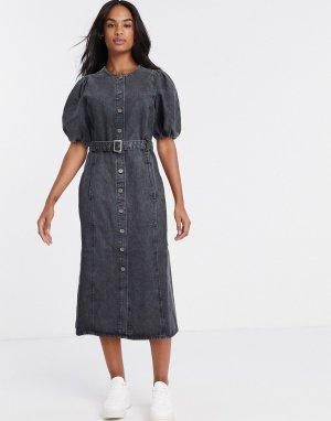 Серое платье-рубашка миди с пышными рукавами -Серый Gestuz